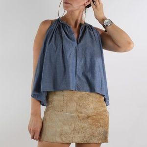 JUNE Beige Suede Genuine Leather Mini Skirt